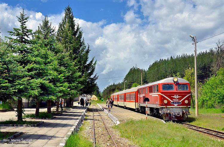 Влак 16103 Юндола, тъкмо пристигнал на гара Добринище. Снимка: www.tesnolineikata.com